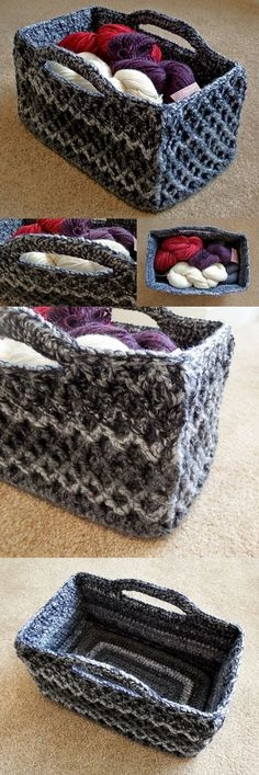 Rectangular Diamond Trellis Basket – Free crochet pattern with video tutorial! - Rectangular Diamond Trellis Basket – Free crochet pattern with video tutorial! Rectangular Diamond Trellis Basket – Free crochet pattern with video tutorial! Crochet Storage, Knit Or Crochet, Crochet Crafts, Crochet Stitches, Crochet Projects, Free Crochet, Ravelry Crochet, Crochet Rope, Sewing Projects