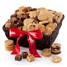 Super sized holiday delight gluten free gift tower gourmet gift mrs fields basket of nibblers brownie bites 14ev122 negle Gallery