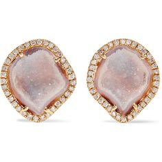 Kimberly McDonald 18-karat gold, geode and diamond earrings ($5,375) ❤ liked on Polyvore featuring jewelry, earrings, gold, handcrafted jewelry, 18k earrings, earring jewelry, diamond jewellery and 18 karat gold jewelry