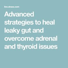 Advanced strategies to heal leaky gut and overcome adrenal and thyroid issues