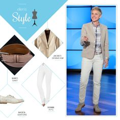 Ellen's Look of the Day: plaid button up shirt, tan blazer, white jeans and shoes
