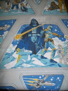 Vintage Star Wars Empire Strikes Back Twin Single Flat Sheet Material Fabric 70s #DanRivers