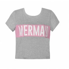 MERMAID CROPPED TEE (21 AUD) ❤ liked on Polyvore featuring tops, t-shirts, shirts, t shirt, pattern t shirt, round neck t shirt, print crop tops and crop tee