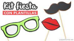 Complementos photocall casero plantillas bigote gafas labios boca youtube