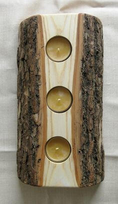 Massive Wood Candle Reversible Tealight Holder from salvaged Log LCH 135