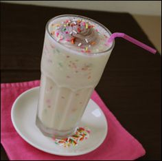 birthday cake shake! yum! instead of 800 calories this one only has 215!