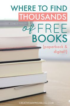 Where to Find Thousands of Free Books Love to read? Here's how to find thousands of free books—both paperback and digital—with absolutely no strings attached. Includes a list of my all-time favorite websites! Free Books To Read, Free Books Online, Books To Read Online, Reading Online, New Books, Free Reading Books, Free Books By Mail, Ebooks Online, Reading Lists
