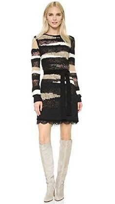 Nice Diane von Furstenberg Women's Slash Back Wrap Dress Mixed knit 44% wool/28% cotton/12% alpaca/11% polyester/4% nylon/1% acrylic 100% nylon