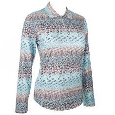 True Blue (Calypso) Bette & Court Ladies Paradise Long Sleeve Print Polo Golf Shirt! More stylish sun protection apparel at #lorisgolfshoppe