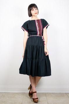 Vintage Black Dress Midi Dress 1970s 70s Dress Tiered Skirt Cap Sleeve Patchwork Dress Boho Dress Hippie Dress Prairie S Small M Medium by ShopTwitchVintage #vintage #etsy #70s #1970s #hippie #prairie #midi #dress