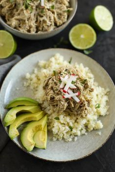 It hardly gets any easier than this recipe with just 5 ingredients! Slow Cooker Chicken Chile Verde is a family-favorite and it& -friendly. Slow Cooked Meals, Slow Cooker Recipes, Paleo Recipes, Real Food Recipes, Chicken Recipes, Crockpot Recipes, Chicken Chile Verde, Chicken Chili, Lime Chicken