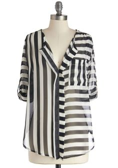 The Absence of Collar Top - Sheer, Mid-length, Multi, Black, White, Stripes, Casual, Mod