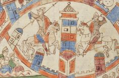 Illustration from the Roda Bible, c.1050-1100AD  Biblia Sancti Petri Rodensis. Ms Latin 6 (2) folio 129v  Detail of upper register. Gezer taken?