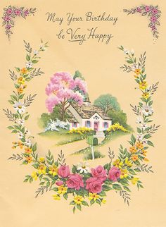 Vintage - May Your Birthday be Very Happy Card