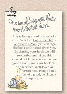 Classic Winnie the Pooh Bear Baby Shower Book Poem Insert (Please bring a book instead of a card) by MintDesignCo