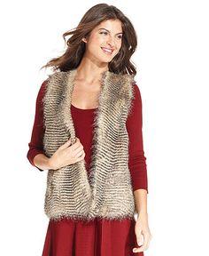 Grace Elements Vest, Open-Front Faux-Fur - Womens - Macy's $54.99