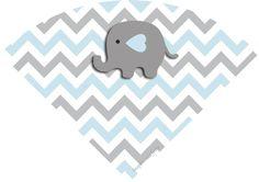 Elefantinho Chevron cinza e azul: Kit festa grátis para imprimir – Inspire sua Festa ®