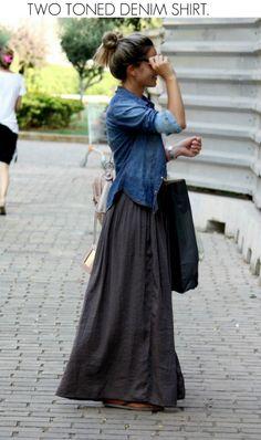 37b9b5e944155 jeans + long skirt How To Wear Denim Jacket