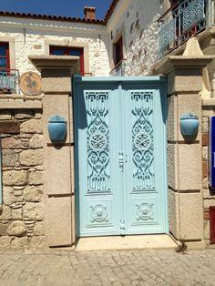 Blue garden door, Alacati, Izmir, TURKEY