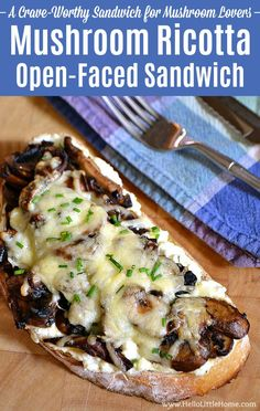 Mushroom Ricotta Open-Faced Sandwich recipe, a delicious gourmet vegetarian sandwich recipe that mushroom lovers will go nuts for! This easy hot vegetarian sandwich is total comfort food and loaded with mushrooms (use your fave, like portabella), ricotta, Gourmet Sandwiches, Wrap Sandwiches, Vegetarian Sandwich Recipes, Easy Sandwich Recipes, Vegetarian Meals, Snack Recipes, Sunday Recipes, Vegetarian Breakfast, Winter Recipes