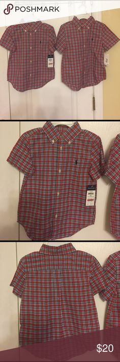 Ralph Lauren boy Madras plaid short sleeve shirt Perfect for birthday parties and play dates, this button down is sure to keep him comfortable and cute. Signature embroidered pony at the left chest. Button down point collar. Short sleeves and boxed pleated back yoke. Multicolor Polo by Ralph Lauren Shirts & Tops Button Down Shirts