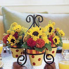 Centerpiece idea! Handpainted flower pot trio w/ Iron Stand...Weekly Deal $22.96!