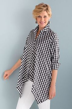 Handkerchief Gingham Shirt by Comfy USA: Woven Shirt available at www. - Debbie Conner - - Handkerchief Gingham Shirt by Comfy USA: Woven Shirt available at www. Mode Kimono, Comfy Usa, Gingham Shirt, Mode Hijab, Blouse Designs, Shirt Blouses, Ideias Fashion, Fashion Dresses, Couture