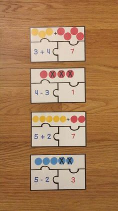 Kindergarten Addition and Subtraction Game Puzzles Add & Subtract within 10 Subtraction Kindergarten, Kindergarten Math Games, Subtraction Activities, Kindergarten Lesson Plans, Kindergarten Addition, Preschool Learning Activities, Common Core Activities, Addition And Subtraction Worksheets, Spanish Activities