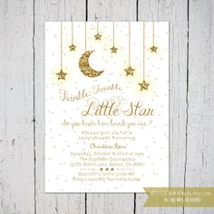 Twinkle Twinkle Little Star Baby Shower Invitation in white and gold by PocketFullofPixels on Etsy #Twinkle #LittleStar #BabyShower