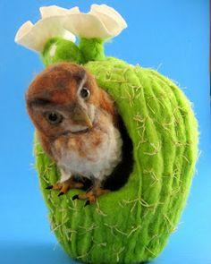 Needle Felted Art / Fibre Art Soft Sculpture of OWL perched on a Nest(looks like cacti?) fabulous detail by Robin Joy Andreae from  'needlefeltedart.blogspot. de'★♥★