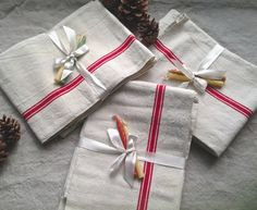 Antique Linen / Vintage French Metis Rustic Dishcloths / Tea Towels & Candles Christmas Gift 2pc French Farmhouse by BrocanteArt on Etsy