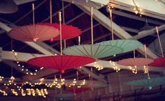 Instead of chandeliers hang parasols!