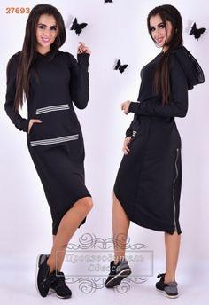 Спортивное женское платье ассиметрия с капюшоном черное
