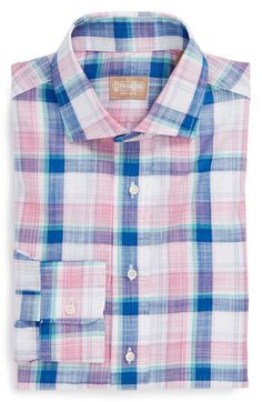 Gitman Trim Fit Plaid Linen Dress Shirt | Nordstrom
