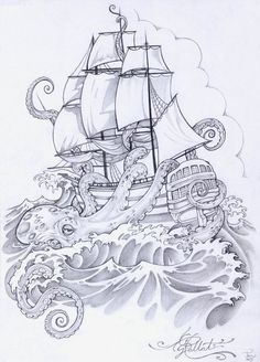 kraken and ship tattoo Tattoo Sketches, Tattoo Drawings, Pirate Ship Tattoos, 1 Tattoo, Tattoo Flash, Tiny Tattoo, Kracken Tattoo, Tattoo Ship, Octopus Tattoos