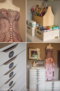 Check out these inspiring office organization ideas and tips. See how blogger Lia Griffith has organized her prop room and craft supply storage room. @LiaGriffith.com