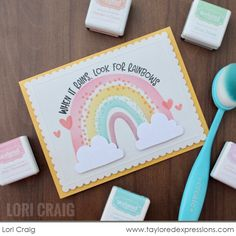 Place for crafty friends! Birthday Sentiments, Card Sentiments, Birthday Cards, Cloud Stencil, Cute Envelopes, Rainbow Card, Rainbow Sprinkles, Pretty Cards, Scrapbook Cards