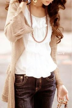 Feminine, Country Look: Cardigan, Lace Tank Top, Blue Jeans, Brown Boots, Simply Jewelry