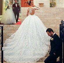 Personalizado novo princesa Vestido de noiva barato manga comprida capela trem Illusion voltar Lace Vestido de baile Vestido de noiva Vestido de noiva(China (Mainland))