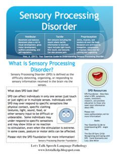 Sensory Processing Disorder Handout Freebie   - Pinned by @PediaStaff – Please Visit  ht.ly/63sNt for all our pediatric therapy pins