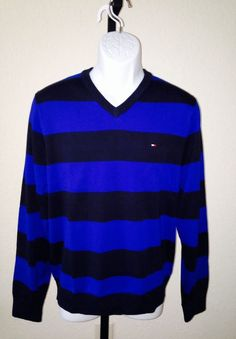 Authentic NWT Tommy Hilfiger Men's V Neck Sweater Striped Navy And Royal Medium #TommyHilfiger #VNeck