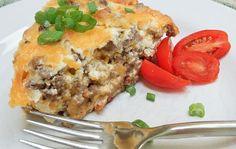 Slice of cheeseburger pie