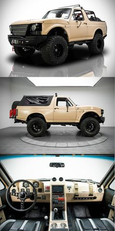 1991 Ford Bronco - Project Fearless. Custom automobile. Inside looks like a cockpit. Nice customization.  American Cars and Trucks. DIY.