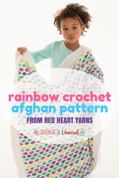 Rainbow crochet afghan pattern from Red Heart Yarns!