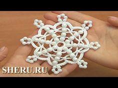 Easy to Crochet Snowflake Урок 36 Снежинка с бусинками простая - YouTube