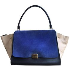 Pre-owned Céline Trapèze Leather Handbag (57.790 RUB) ❤ liked on Polyvore featuring bags, handbags, blue, women bags handbags, blue leather purse, leather hand bags, celine handbags, genuine leather purse and multi color purse