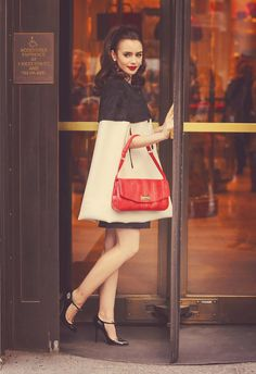Street Style | Head to Toe Black & White with Flaming Red Purse | Lily Collins | | { Couture /// An Elegant Edge