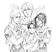 Erwin , Mike , Levi & Hanji