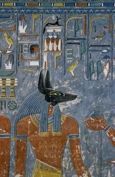 Anubis Receiving Wine from Horemheb - Egyptian School Art Print, Canvas Ancient Egypt Art, Ancient History, Egyptian Art, Egyptian Things, Egyptian Mythology, Life In Egypt, Fresco, The Hierophant, Anubis