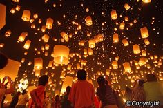 Loy Krathong in Chiang Mai. Festival of Lights in Thailand.